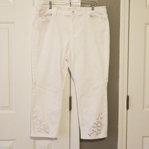 J Jill Authentic fit cropped cut work jeans.